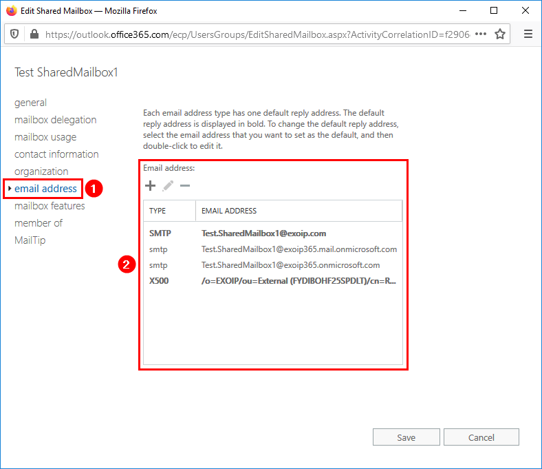 Create Office 365 shared mailbox in Exchange hybrid Office 365 email address
