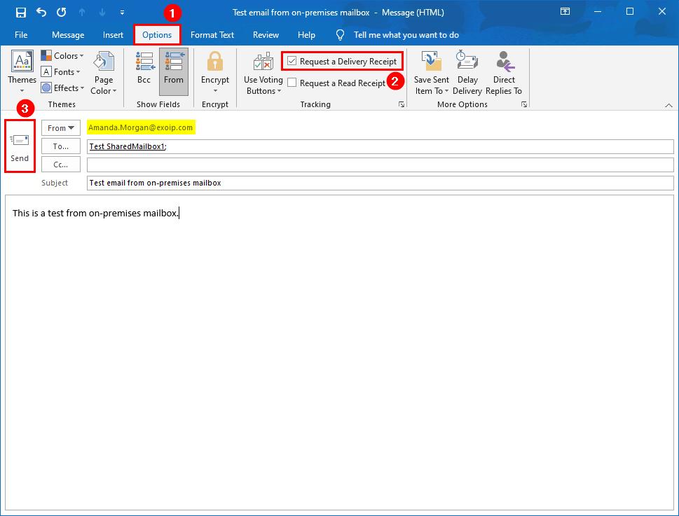 Create Office 365 shared mailbox in Exchange hybrid send test mail