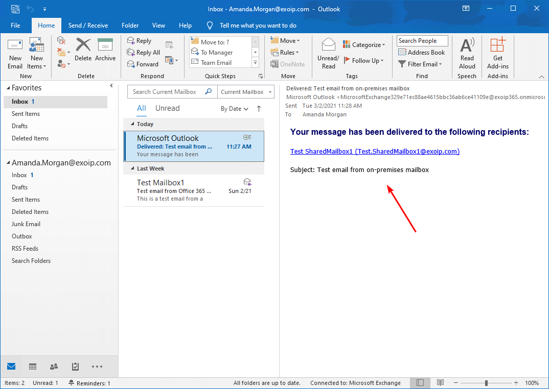 Create Office 365 shared mailbox in Exchange hybrid message delivered