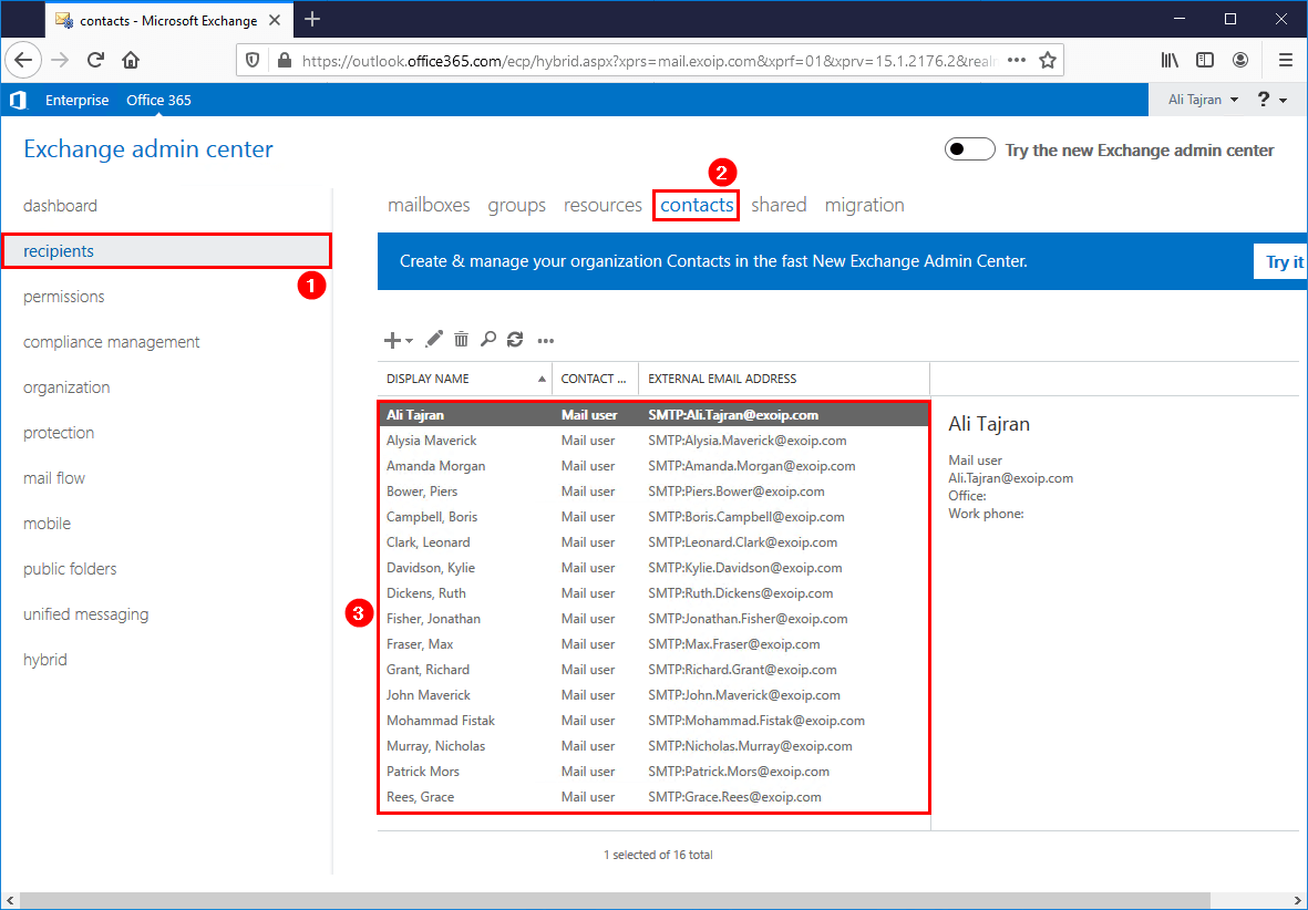 Exchange hybrid management tools mail user contacts