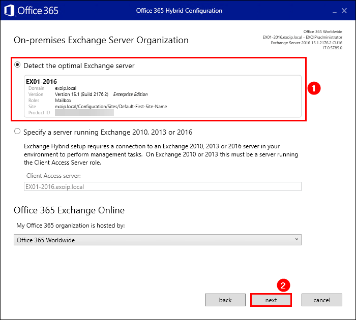 Hybrid Configuration Wizard on-premises Exchange Server organization