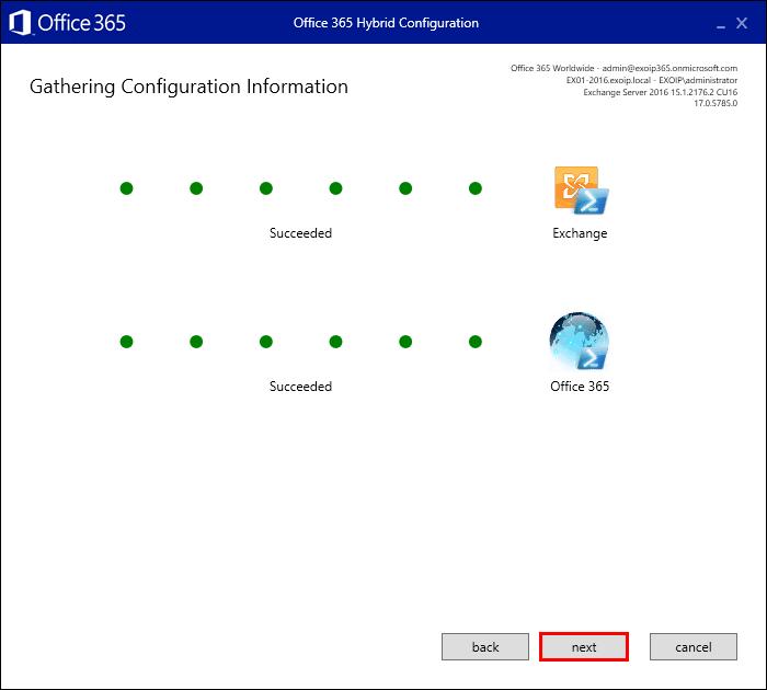 Hybrid Configuration Wizard gathering configuration information