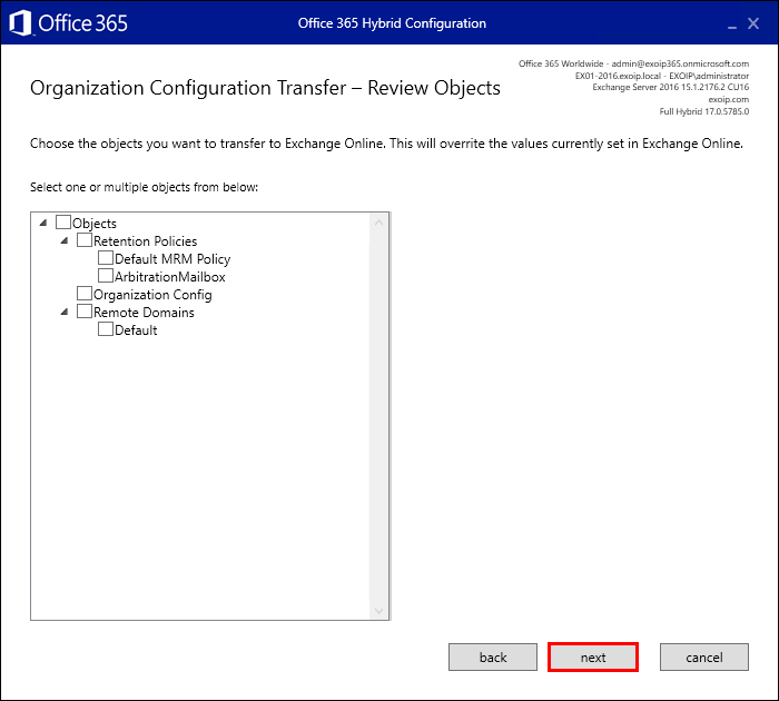 Hybrid Configuration Wizard organization configuration transfer - review objects
