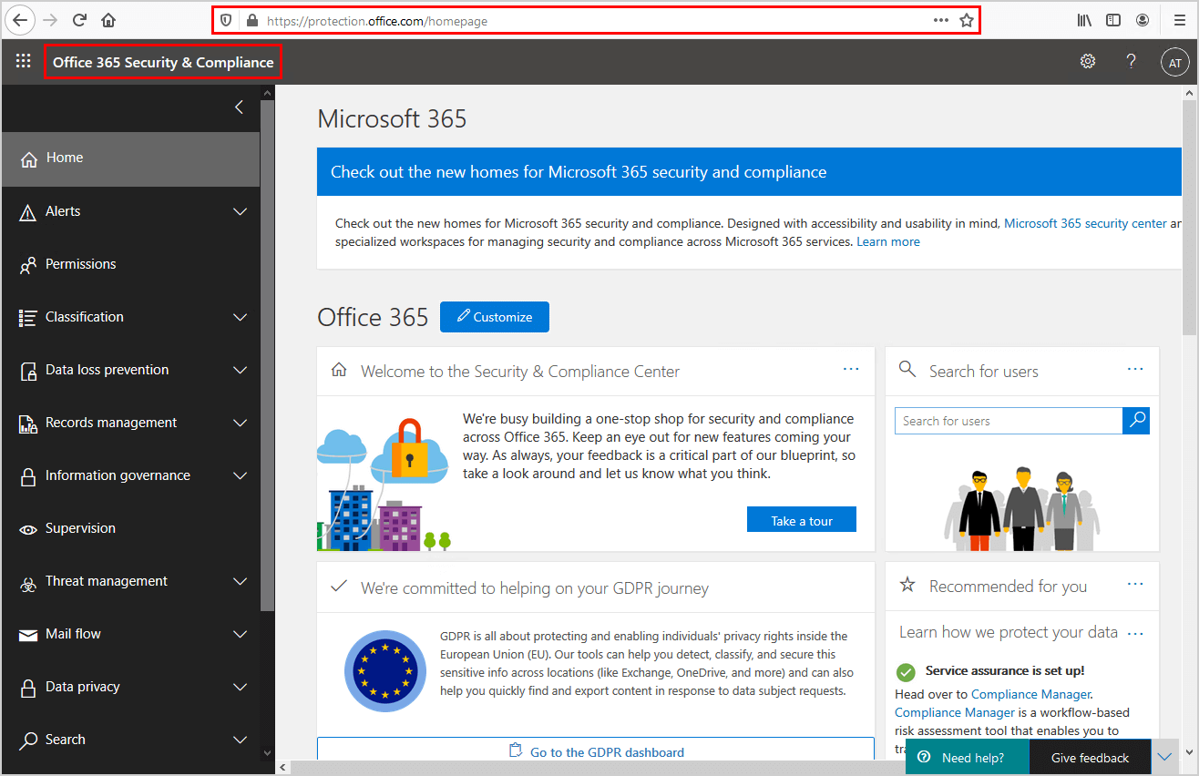 Microsoft 365 security and compliance home