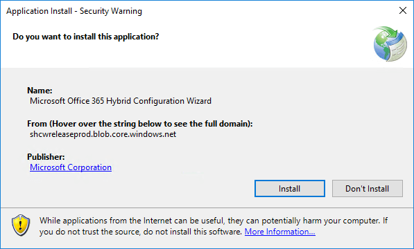 Office 365 Hybrid Configuration Wizard can't start application install