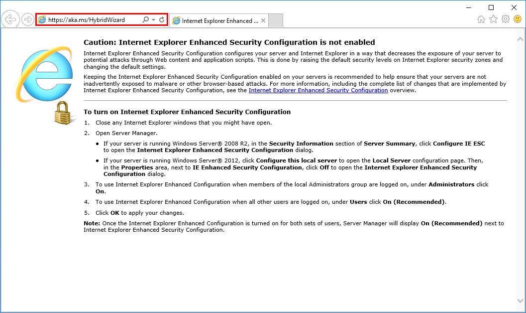 Office 365 Hybrid Configuration Wizard can't start application url