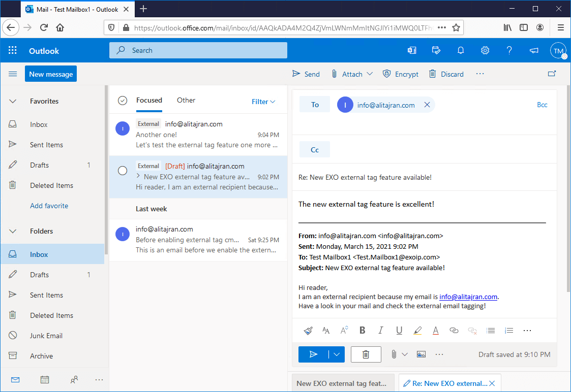 Add tag to external emails in Microsoft 365 for extra security reply