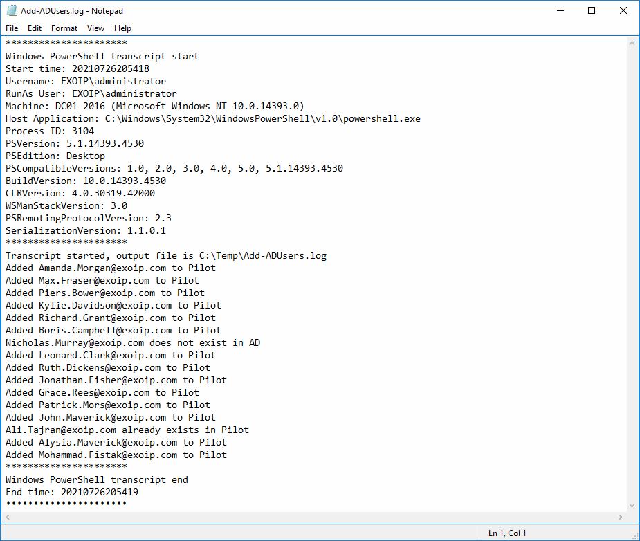 Windows PowerShell transcript