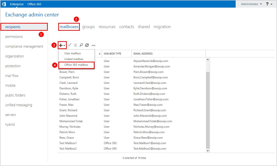 Create Office 365 resource mailbox in Exchange admin center