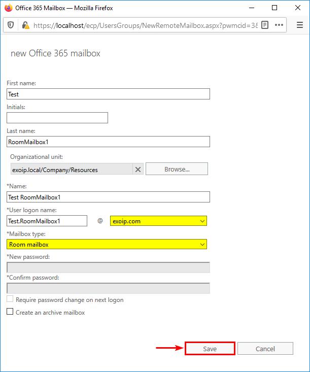 Create new Office 365 mailbox type room mailbox