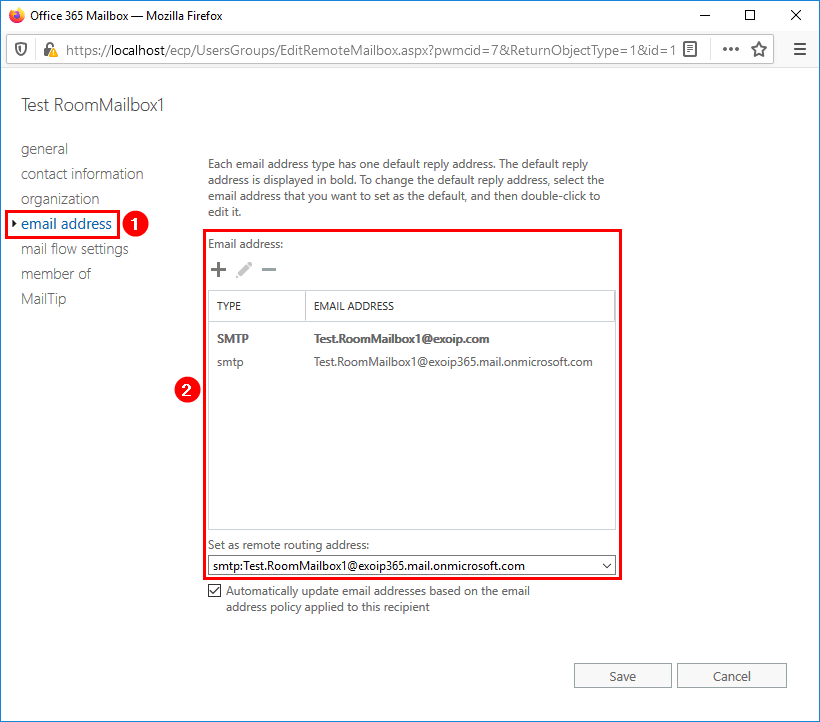 Check email address smtp room mailbox