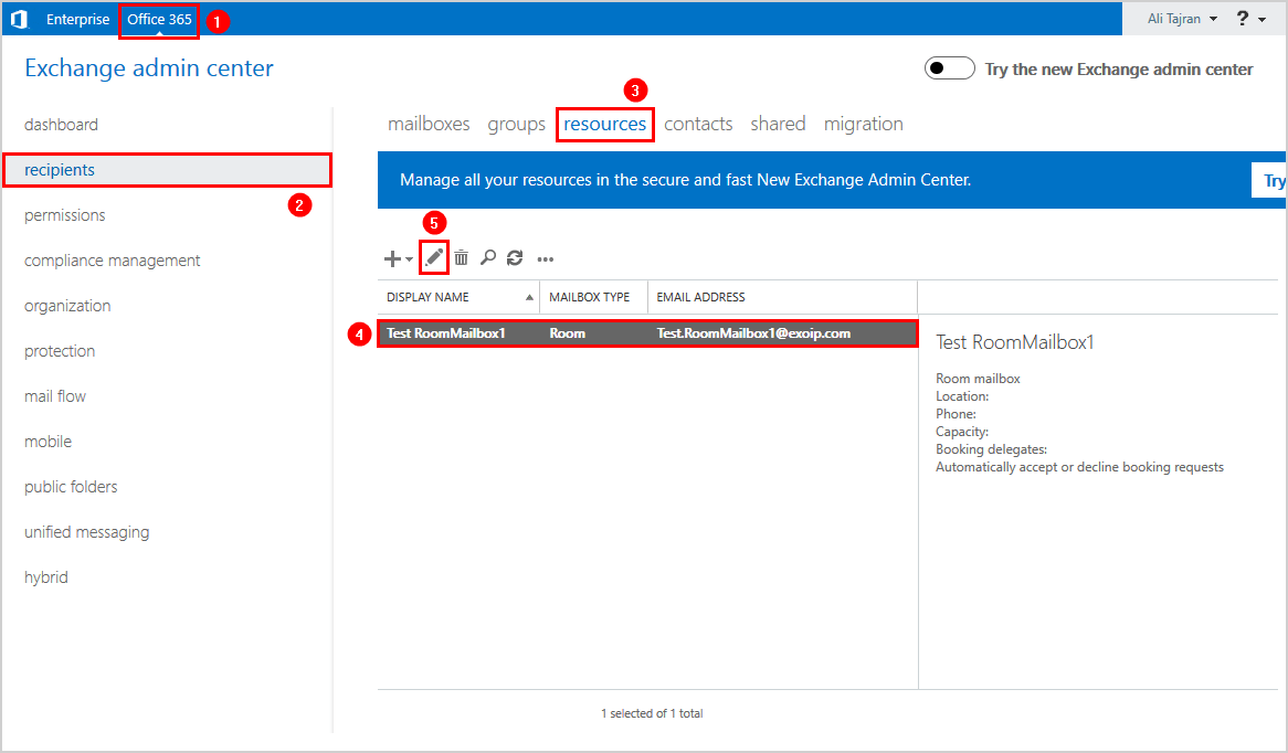 Edit room mailbox Office 365 Exchange admin center