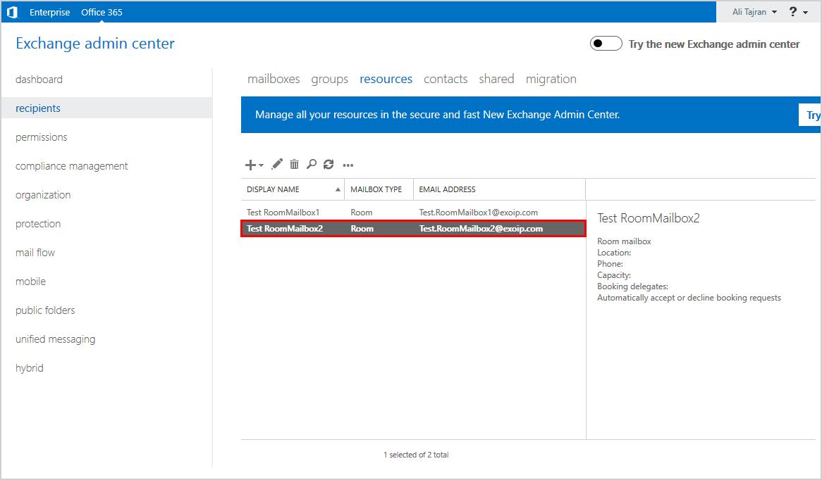 Office 365 Exchange admin center room mailbox