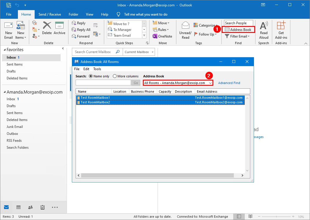 Office 365 mailbox test GAL visibility