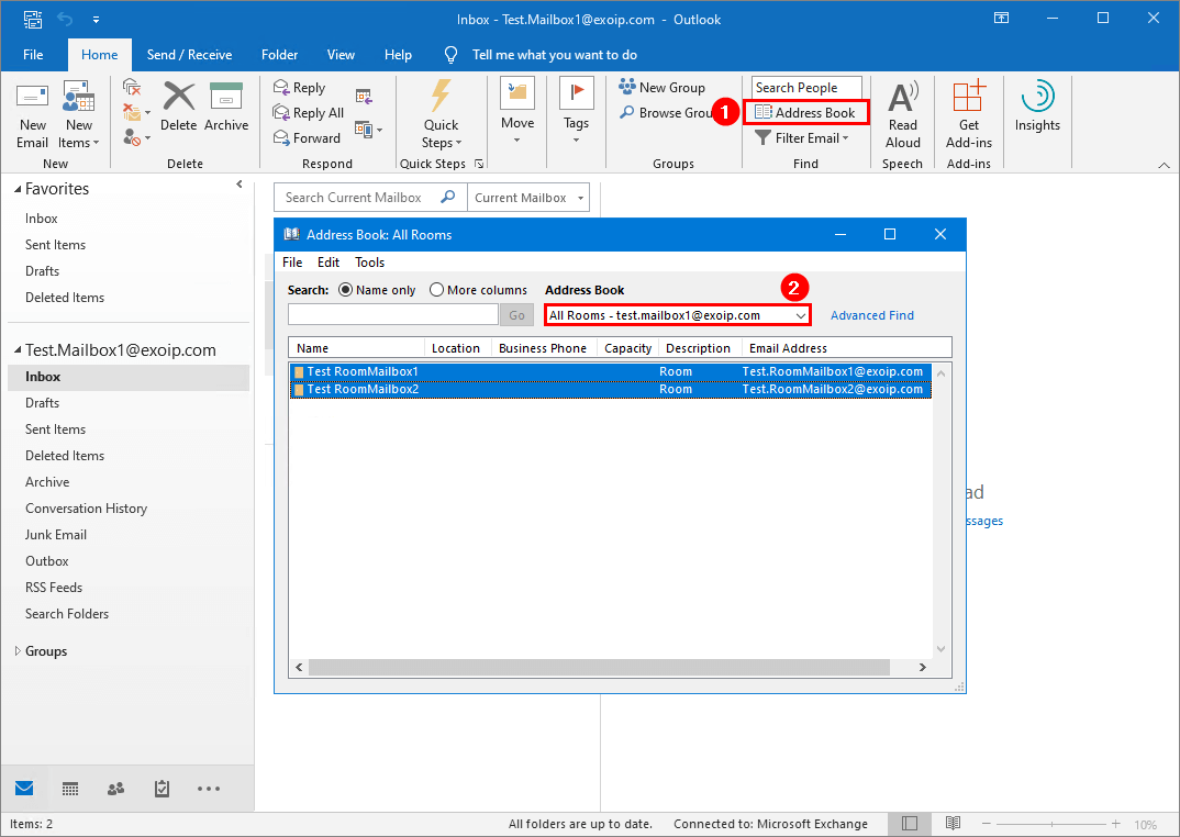 On-premises mailbox test GAL visibility