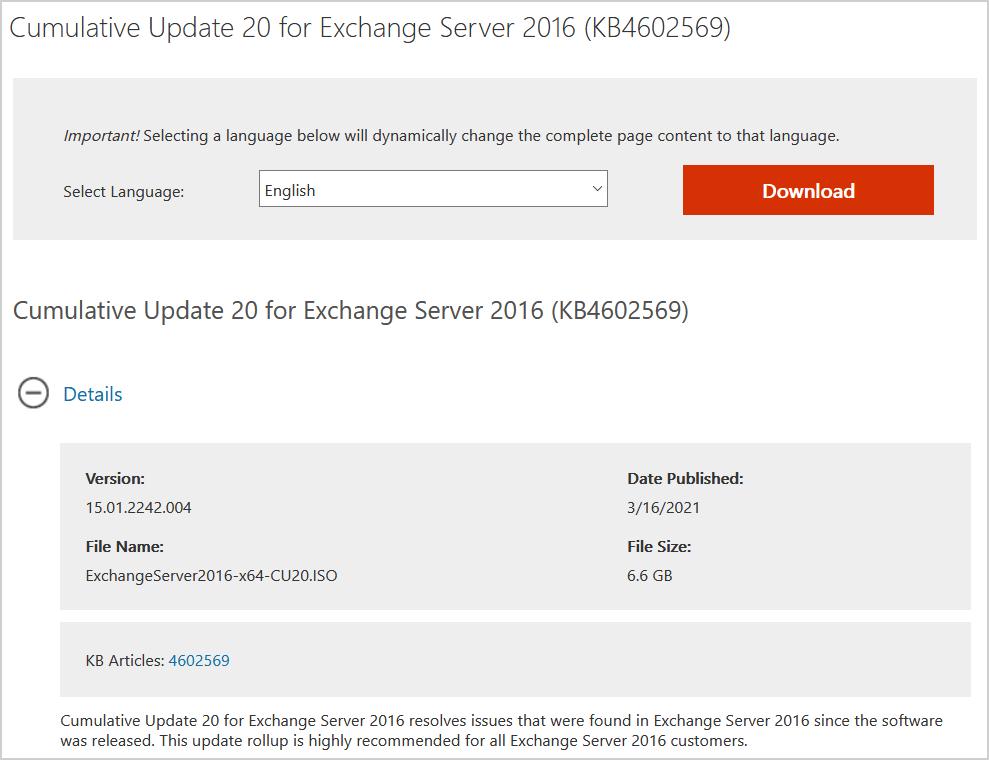 Cumulative Update 20 for Exchange Server 2016 download