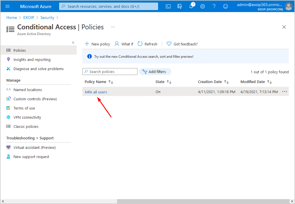 Conditional Access MFA breaks Azure AD Connect synchronization Conditional Access policy