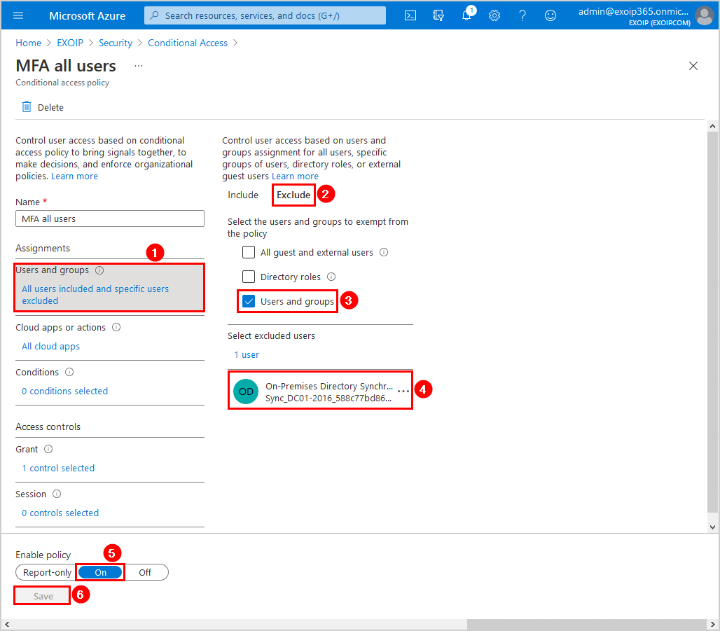 Conditional Access MFA breaks Azure AD Connect synchronization exclude user