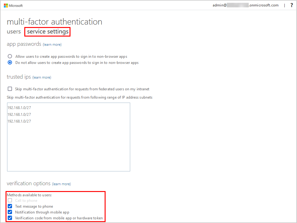 Configure Azure AD Multi-Factor Authentication methods available to users