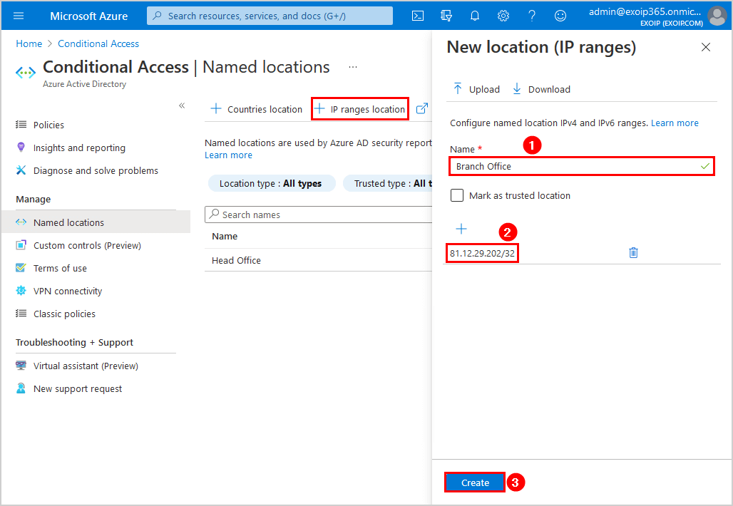 Configure Azure AD Multi-Factor Authentication Azure AD named locations add new location