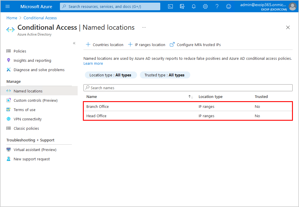 Azure AD Conditional Access named locations list