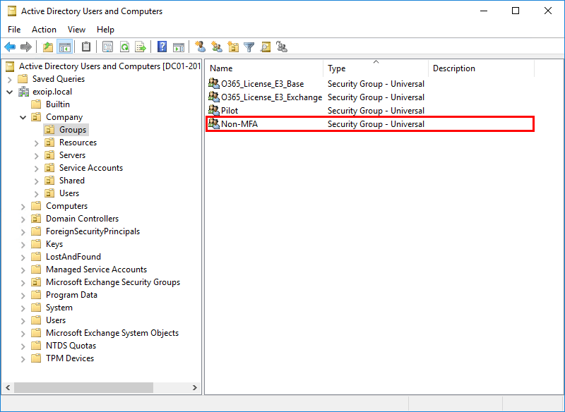 Configure Azure AD Multi-Factor Authentication 01 check Non-MFA security group