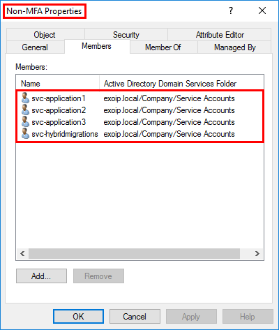 Configure Azure AD Multi-Factor Authentication add service accounts to Non-MFA security group