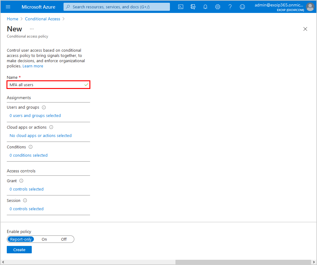 Configure Azure AD Multi-Factor Authentication Conditional access policy name