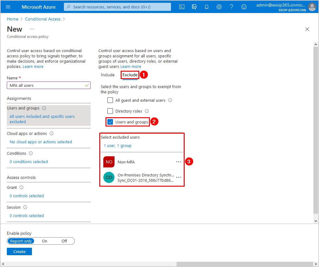 Configure Azure AD Multi-Factor Authentication Conditional access policy users and groups exclude settings