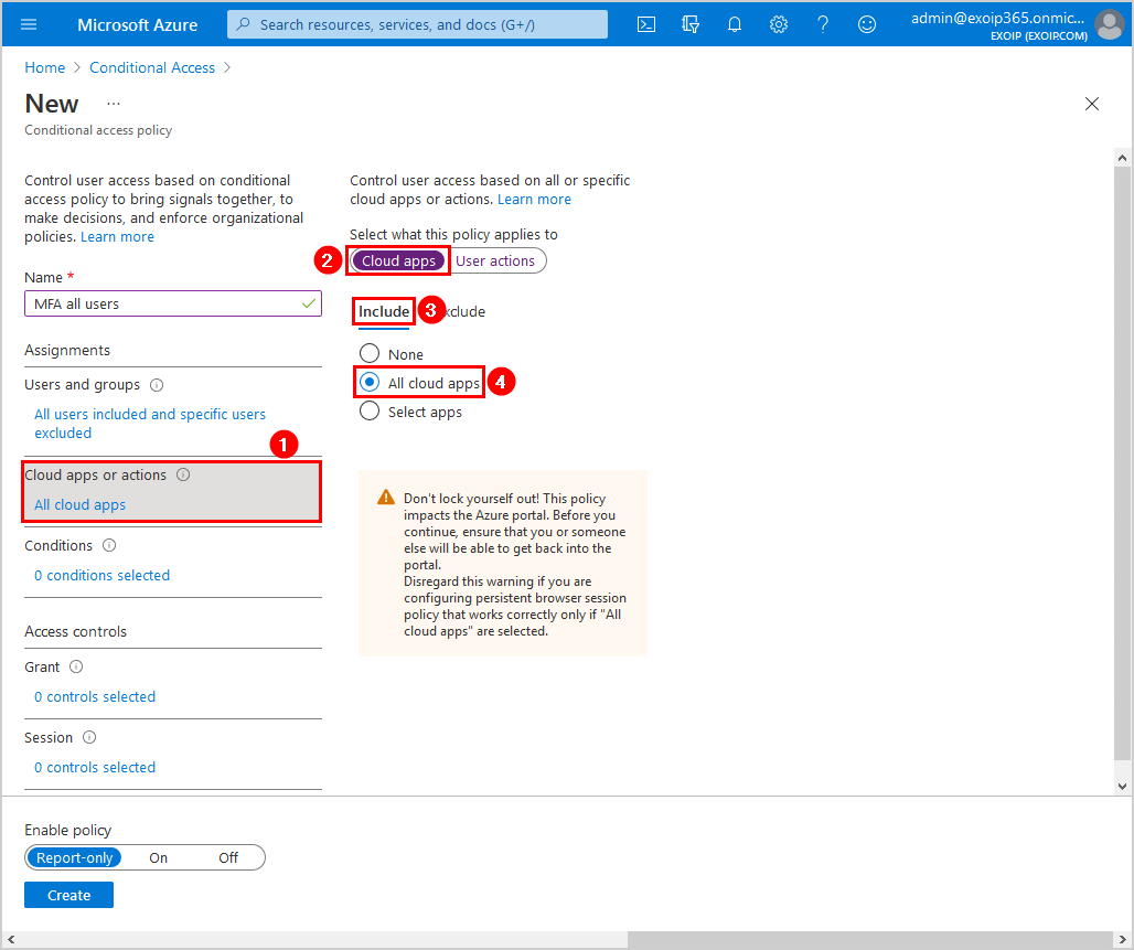 Configure Azure AD Multi-Factor Authentication Conditional access policy cloud apps or actions include settings