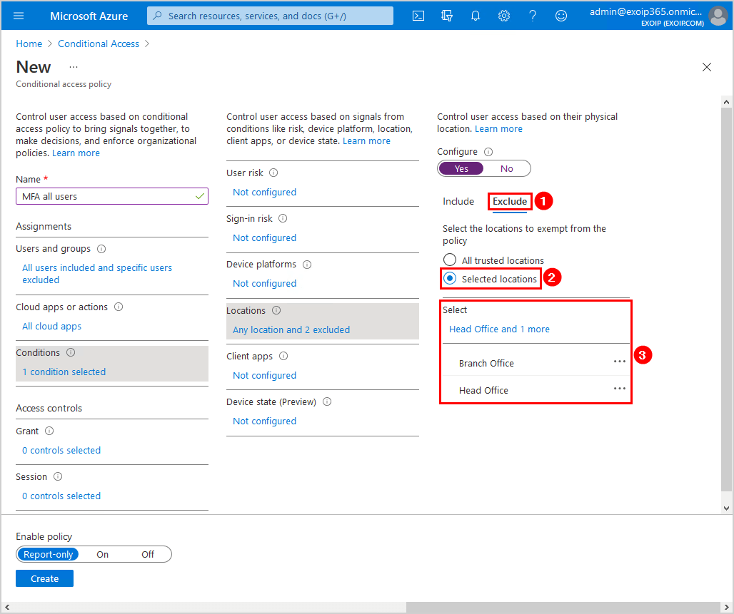 Configure Azure AD Multi-Factor Authentication Conditional access policy conditions exclude settings