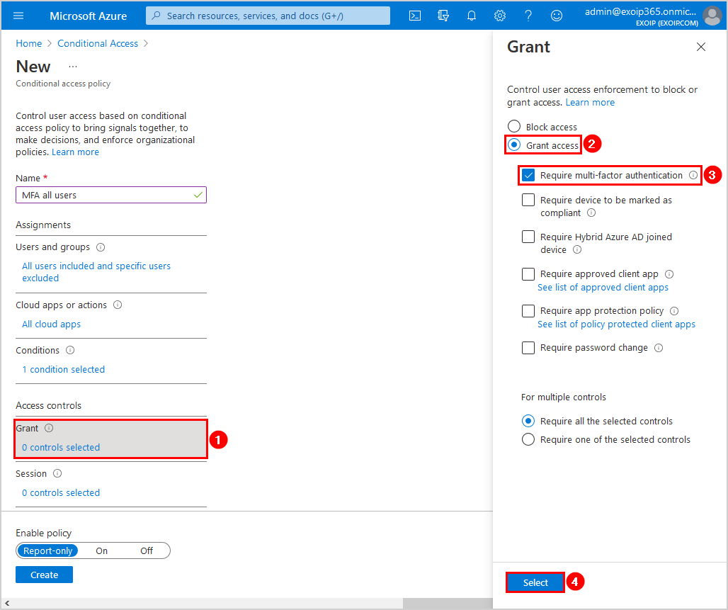 Configure Azure AD Multi-Factor Authentication Conditional access policy grant settings