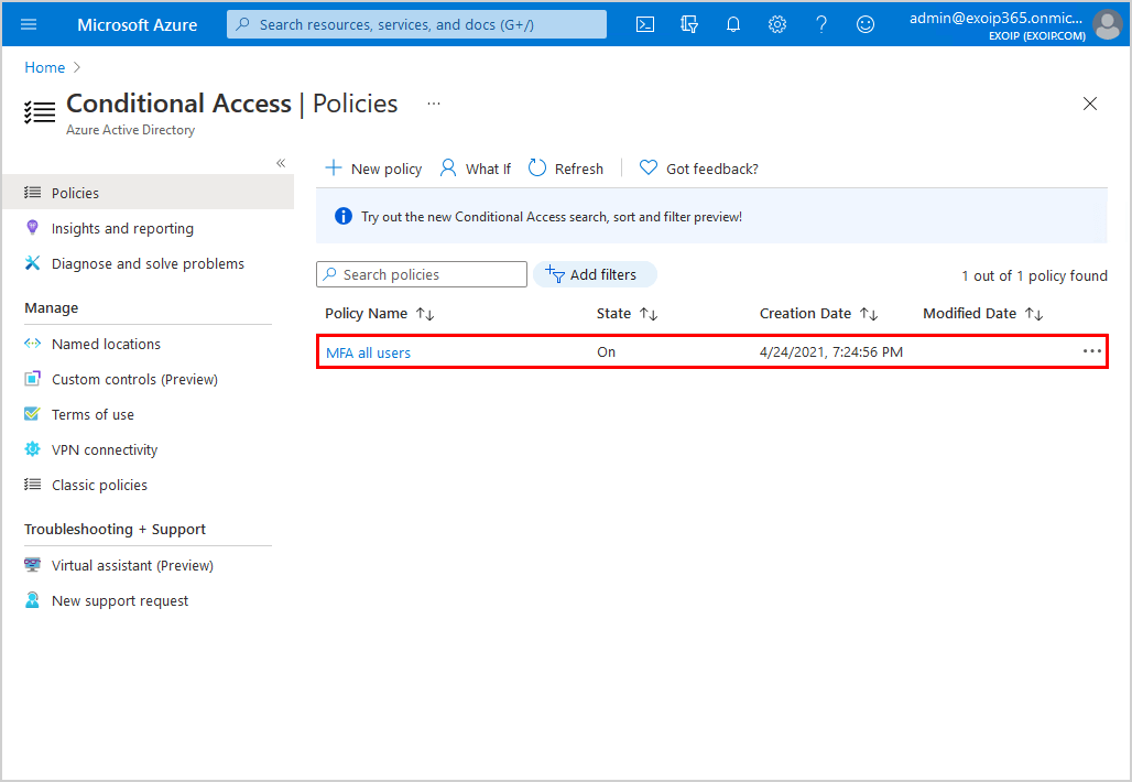 Azure AD Conditional Access policies list
