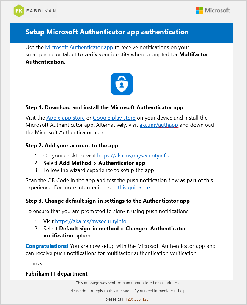 Multi Factor Authentication Authenticator setup instructions
