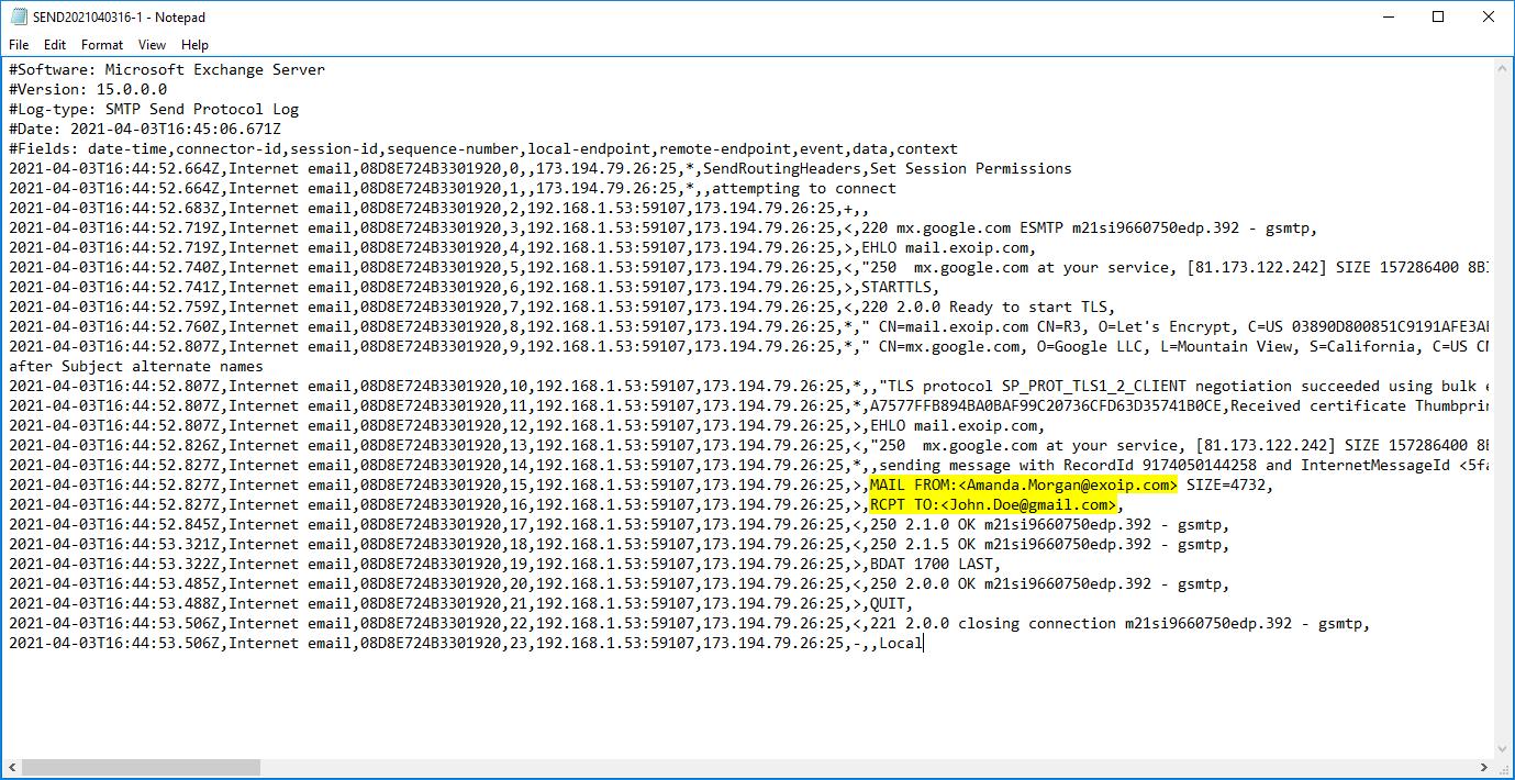 Exchange send connector logging SMTP send protocol log