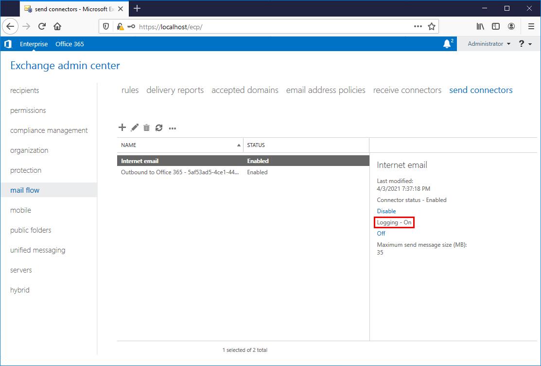 Exchange send connector logging on