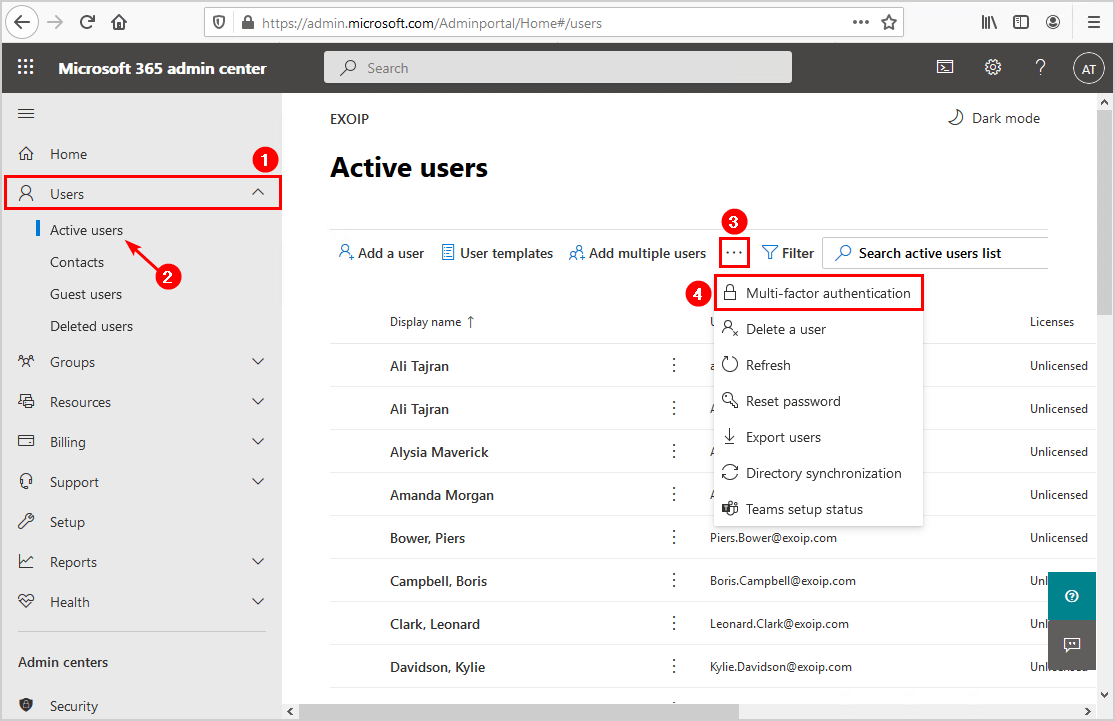 Export Office 365 users MFA status with PowerShell Microsoft 365 admin center