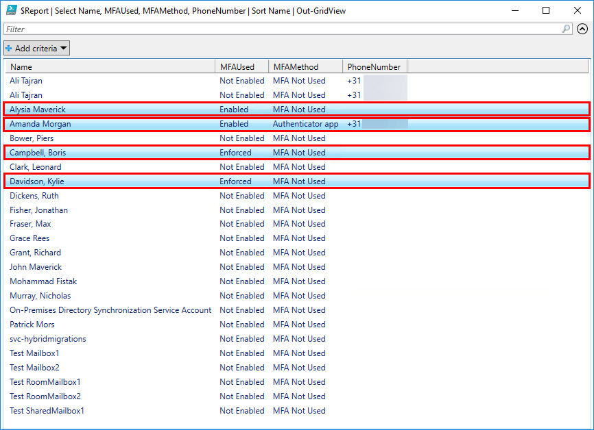Export Office 365 users MFA status with PowerShell Out-GridView