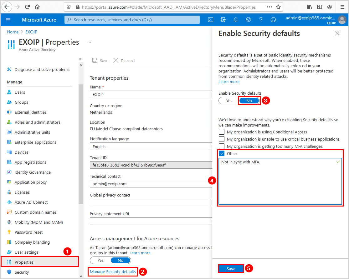 Uncheck Enable security defaults