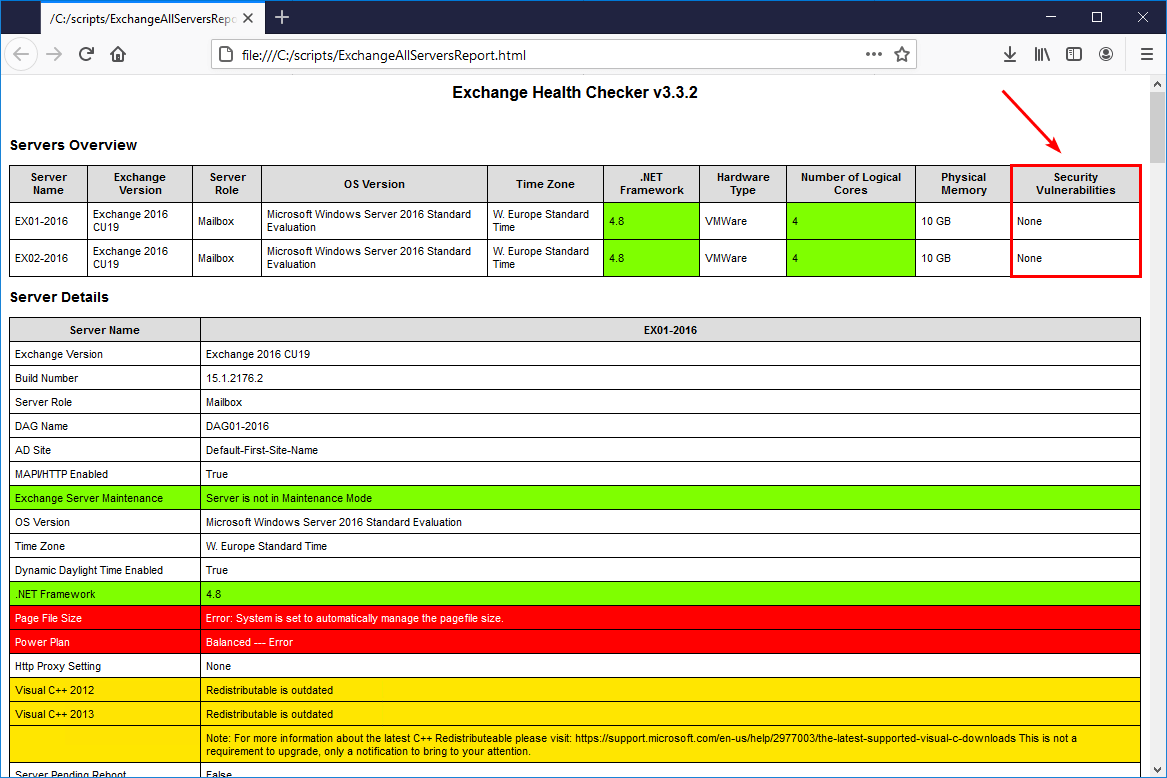 Install Exchange Security Updates check report