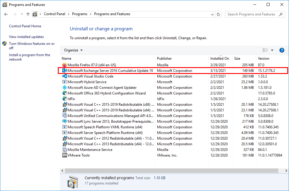 Install Exchange Security Updates check version