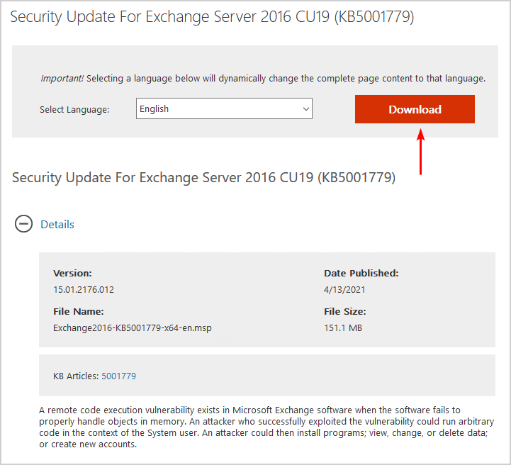 Install Exchange Security Updates download