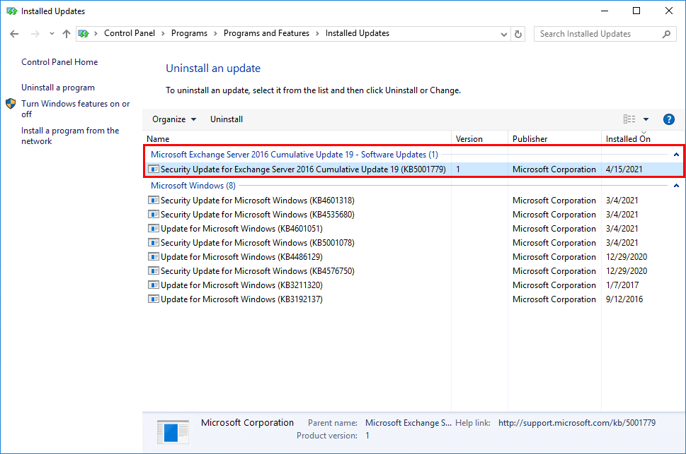Install Exchange Security Updates installed update