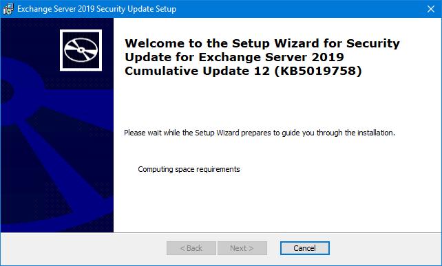 Install Exchange Security Updates step 1