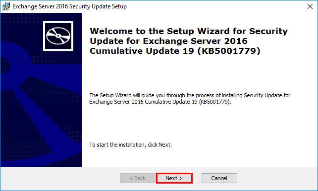 Install Exchange Security Updates step 2