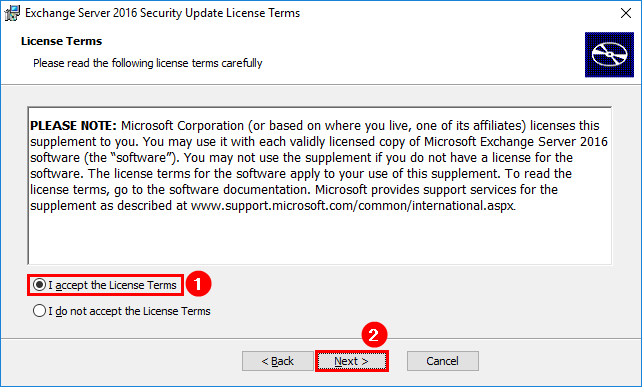 Install Exchange Security Updates step 3