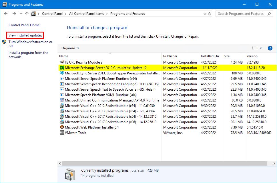 Install Exchange Security Updates view installed updates