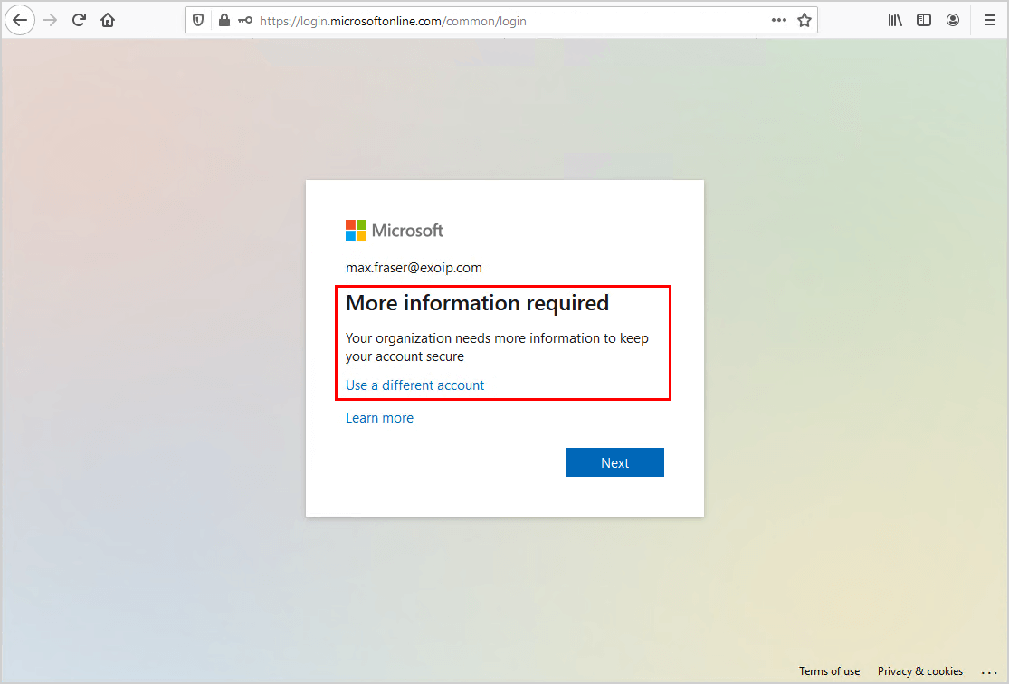 Move from per-user MFA to Conditional Access based MFA test two