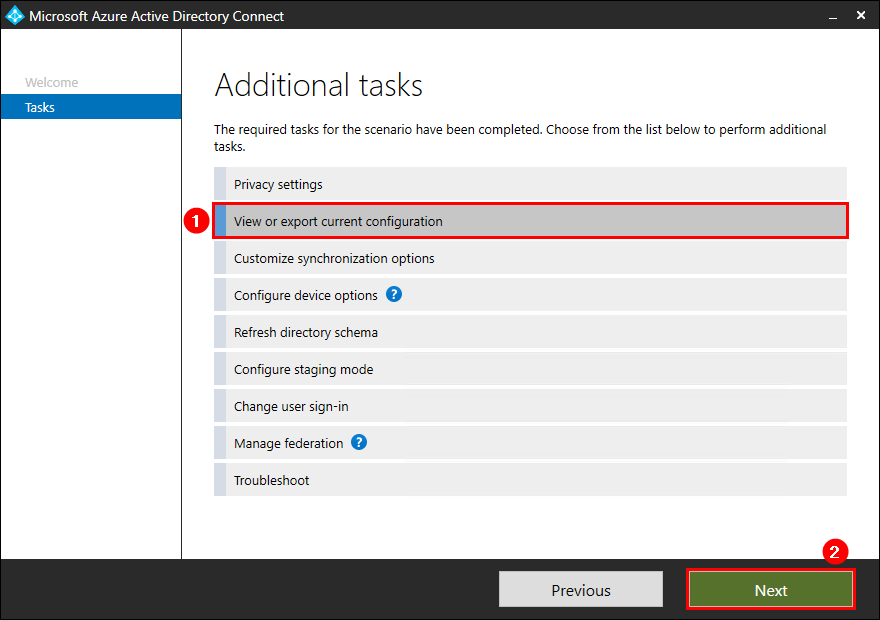 View or export current configuration