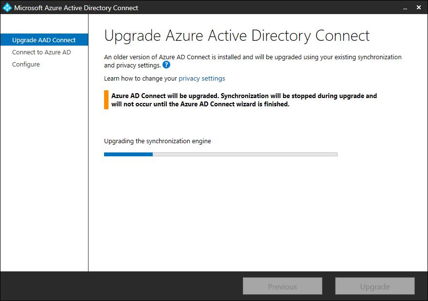 Upgrade Azure AD Connect upgrading the synchronization engine